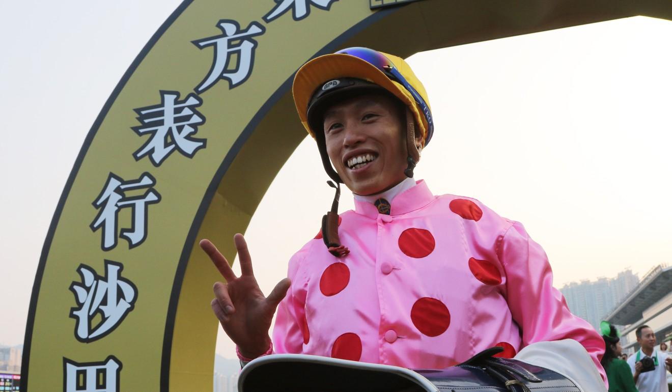 Vincent Ho celebrates his treble.
