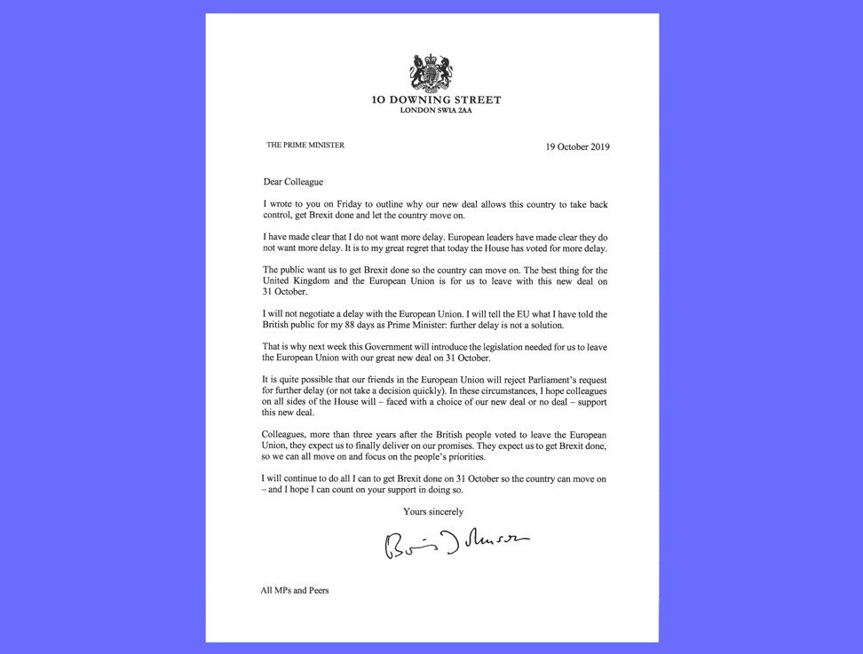 British Prime Minister Boris Johnson leaves Brexit delay letter unsigned, sends second note saying he does not want to postpone