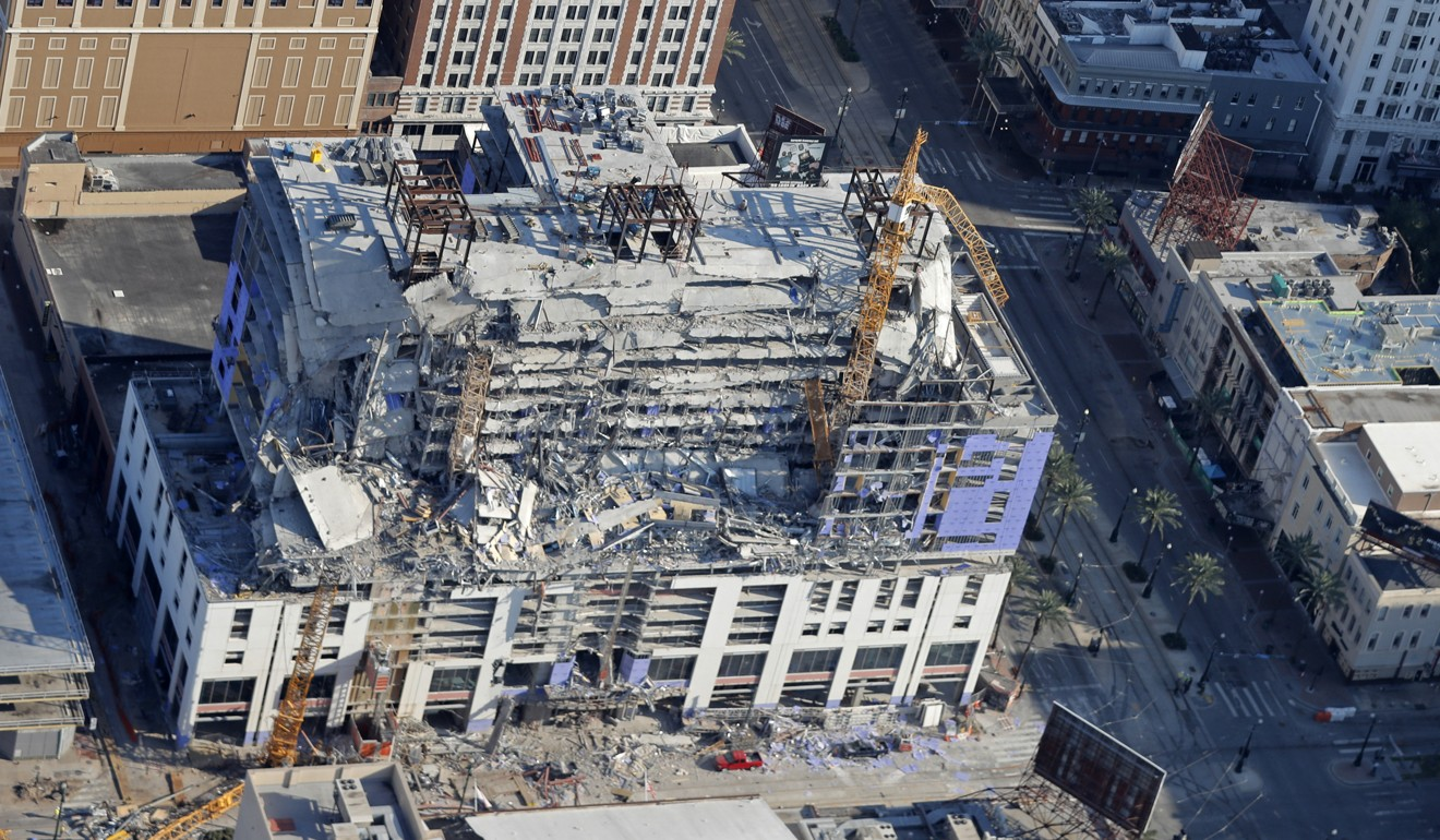 Two toppled cranes destroyed in 'successful' controlled explosion at site of collapsed New Orleans Hard Rock Hotel