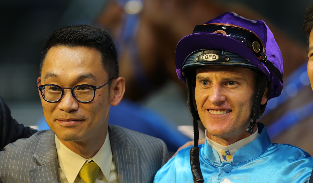 Trainer Jimmy Ting with Zac Purton after the win of Yee Cheong Baby.