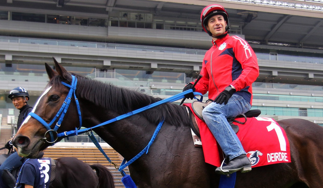 Christophe Lemaire rides trackwork in the lead-up to last year's Hong Kong International Races.