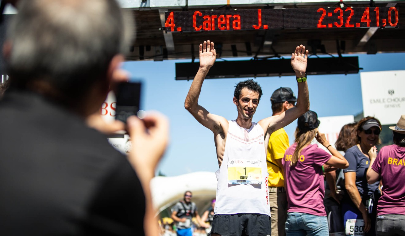 Kilian Jornet winning in Switzerland. Photo: Martina Valmassoi