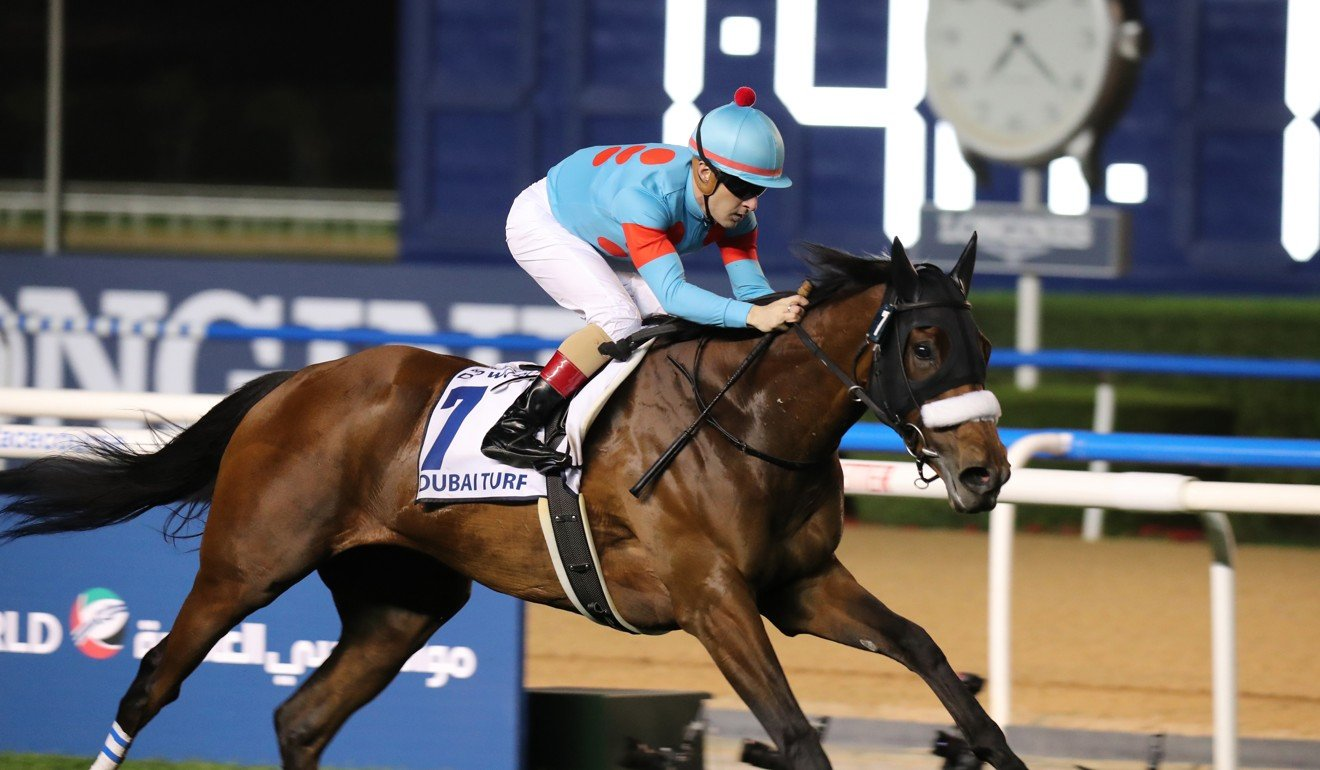 Almond Eye, ridden by Christophe Lemaire wins in Dubai earlier this year.