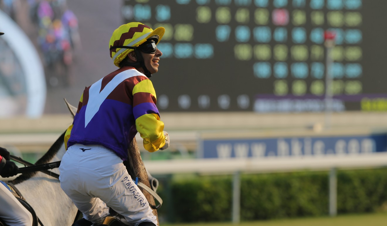 Joao Moreira salutes to the crowd after winning at Sha Tin.