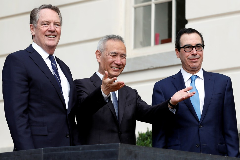 China's Vice-Premier Liu He between US trade representative Robert Lighthizer (left) and US Treasury Secretary Steve Mnuchin during trade negotiations in Washington this month. Photo: Reuters