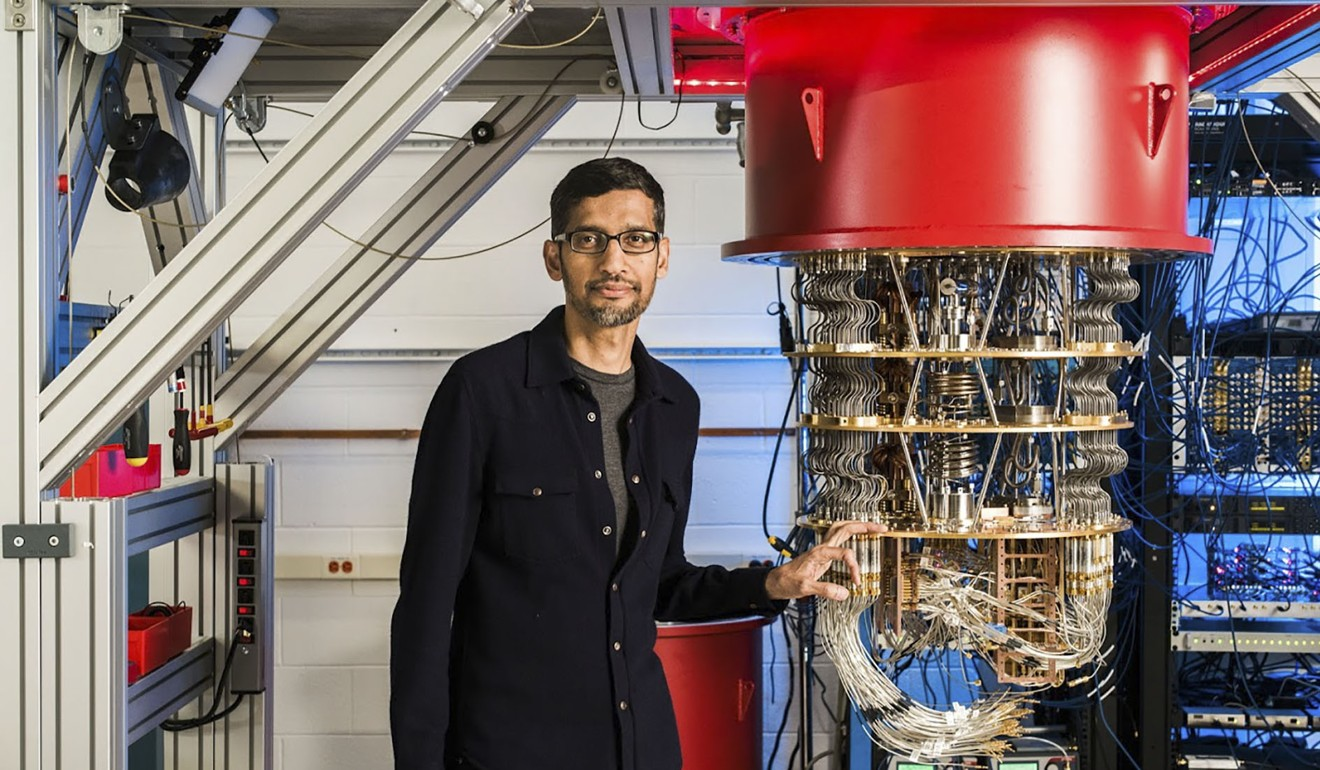 Google CEO Sundar Pichai with one of the company's quantum computers. Photo: AFP