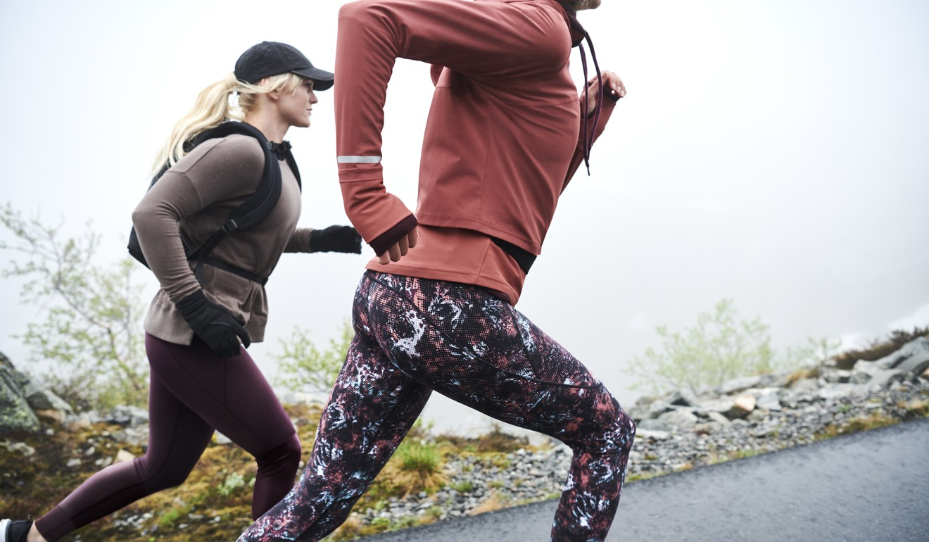 Sweaty Betty leggings and sweatshirts.