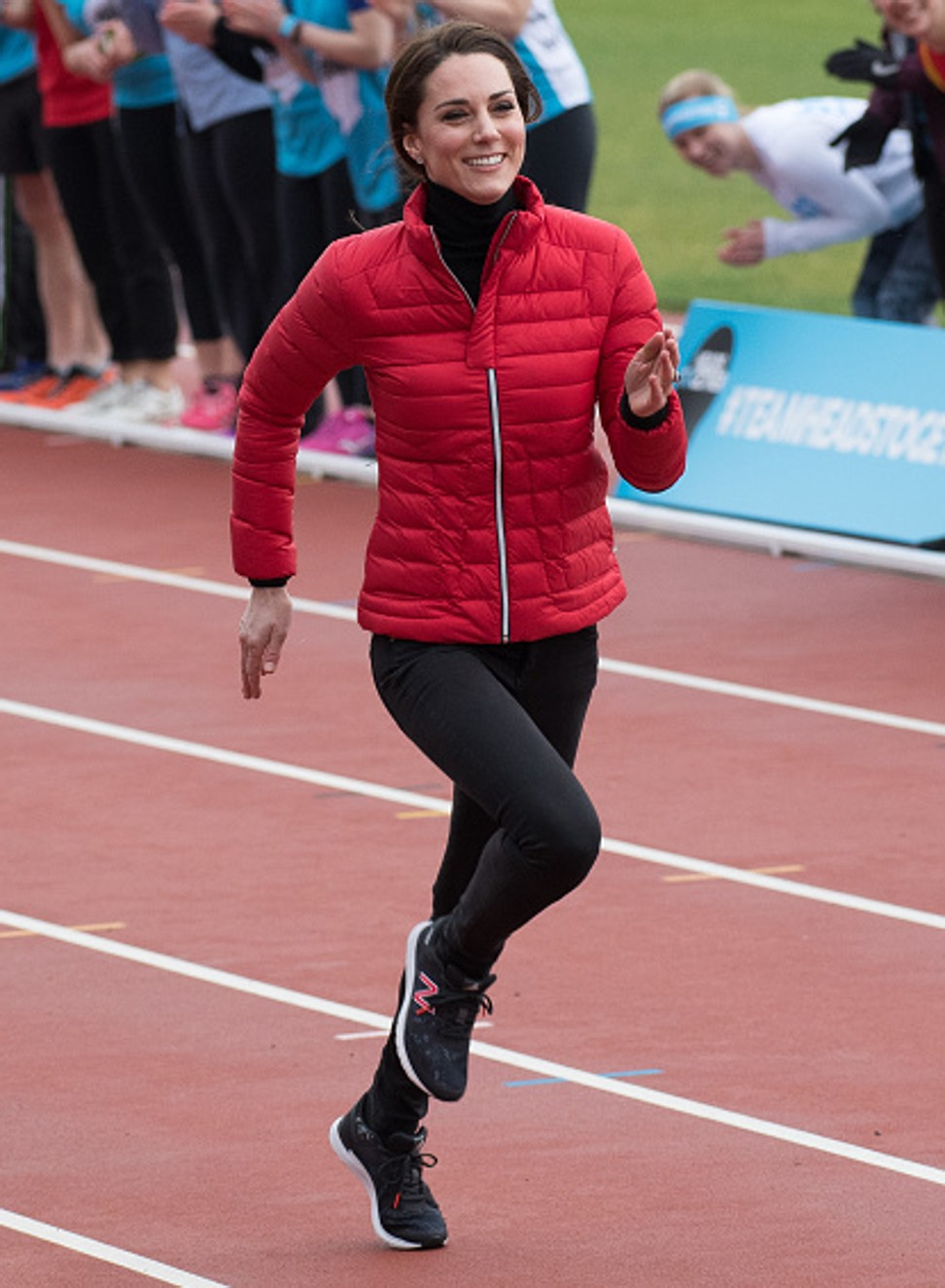 Catherine, Duchess of Cambridge, wears Sweaty Betty leisurewear during a training day for the London Marathon at Olympic Park, London. Photo: Samir Hussein