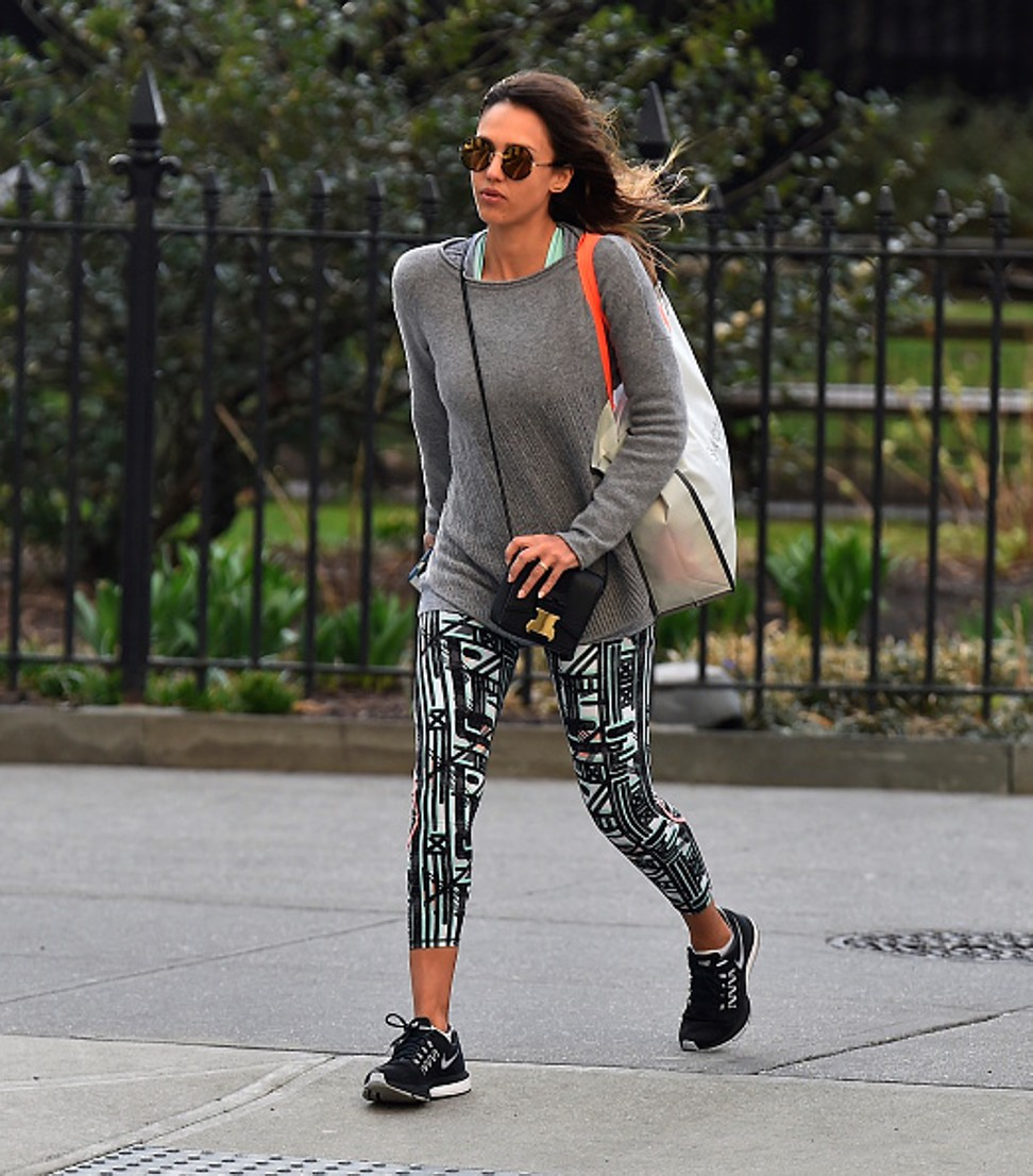 Actress Jessica Alba wearing Sweaty Betty leggings in Chelsea, New York, the US. Photo: GC Images
