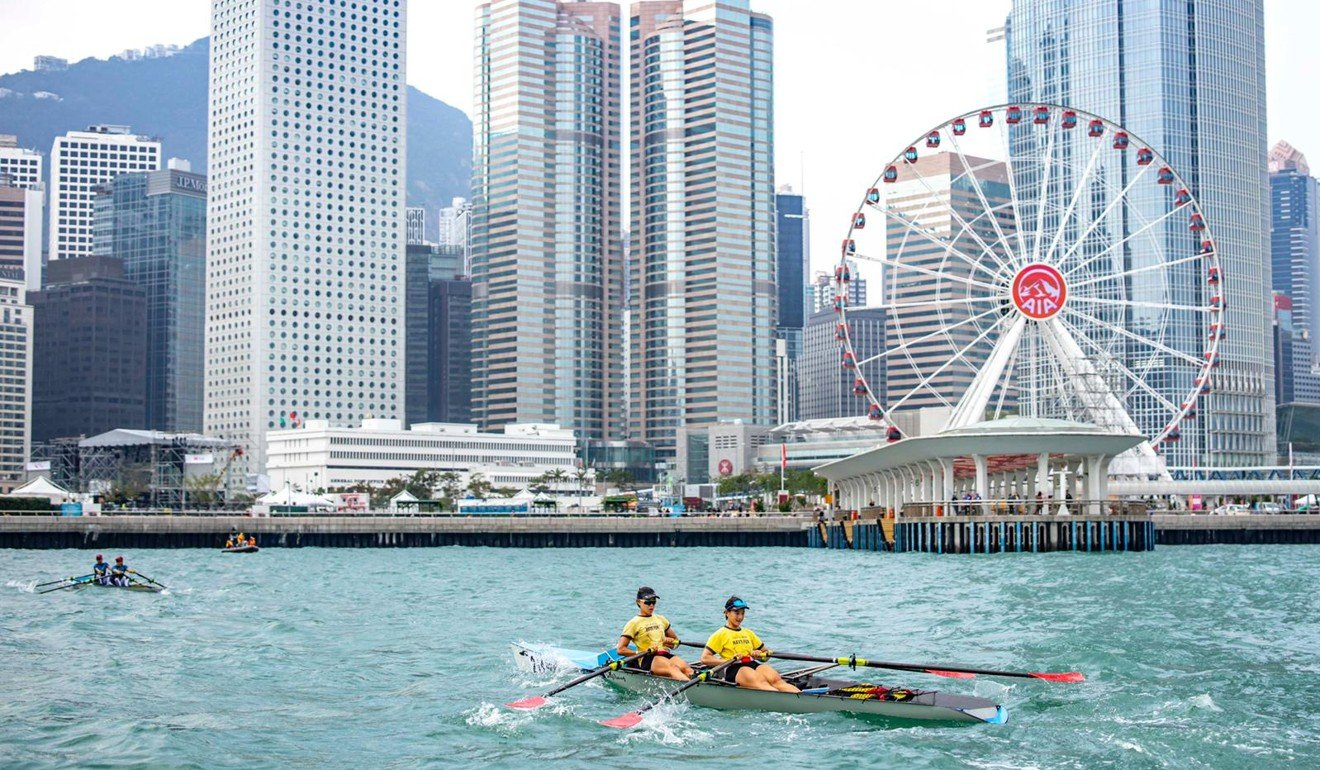 The iconic skyline is the perfect backdrop for the RWCC. Photo: Hong Kong China Rowing Association