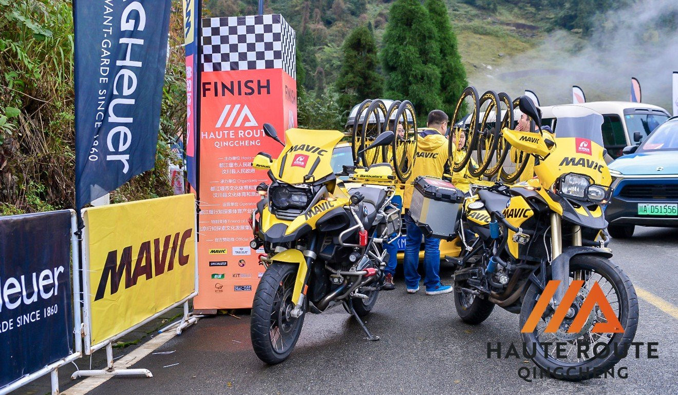 Service motorcycles are present on the course at all times just like in a professional cycling event. Photo: Haute Route