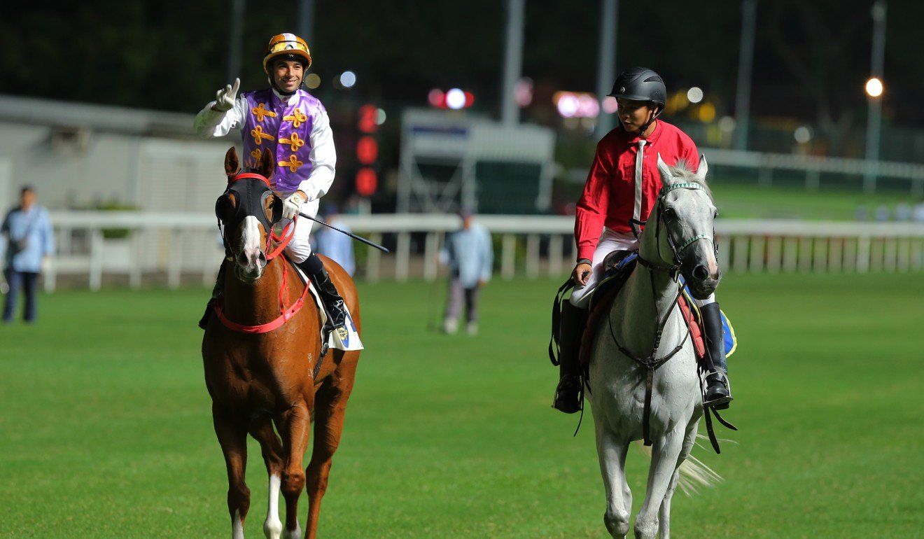 Joao Moreira returns after riding a winner at Happy Valley on Wednesday night.