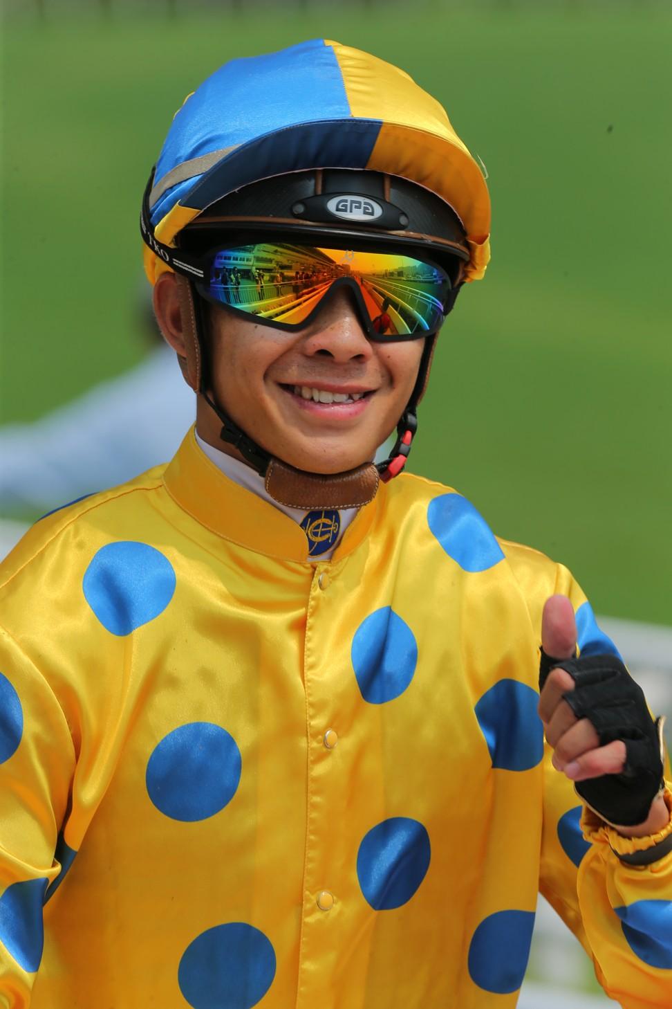 Derek Leung rides a winner.