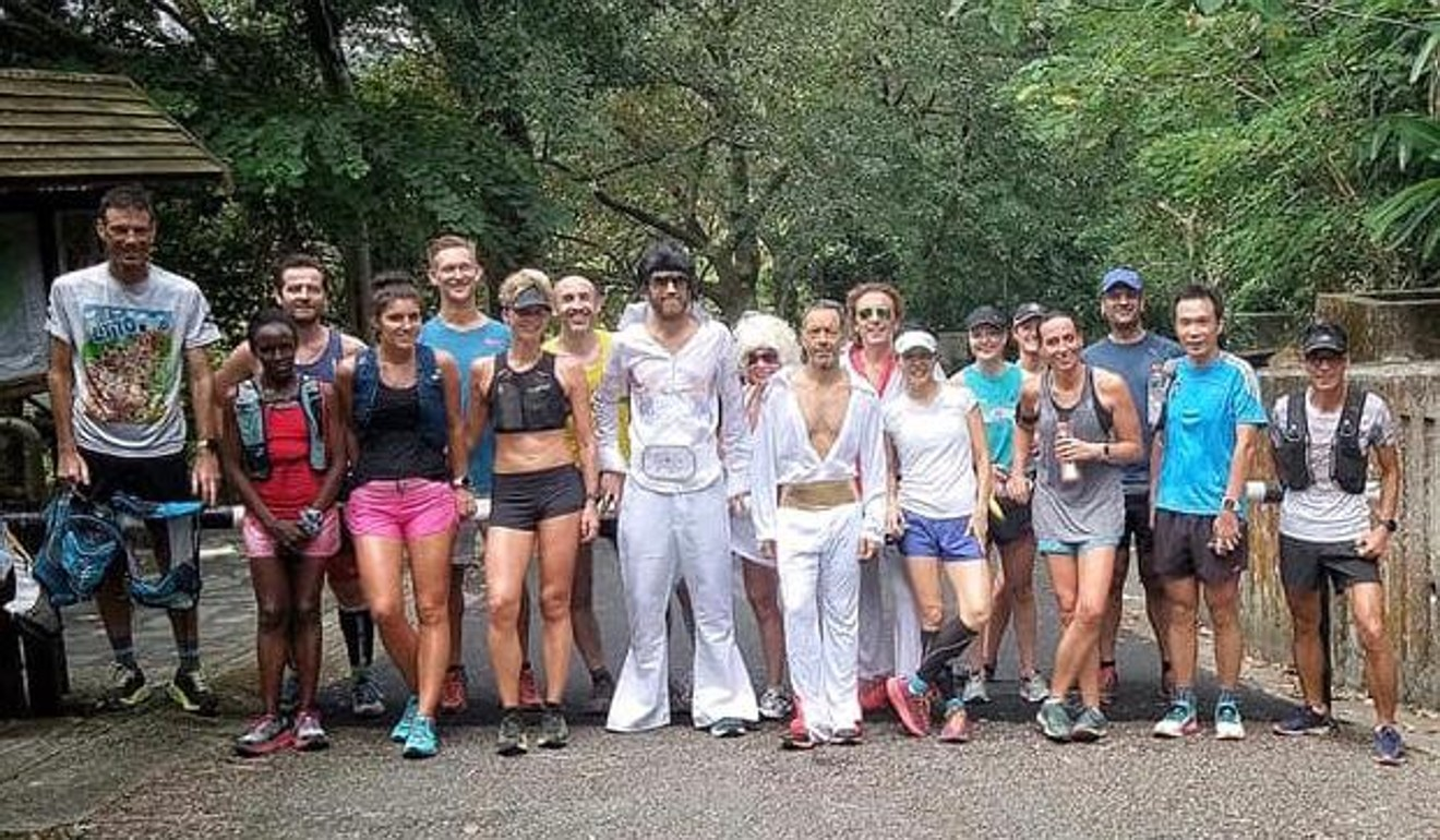Wardian joins the Hong Kong group Gone Runners and wears his Elvis suit as homage to his fancy dress world records.