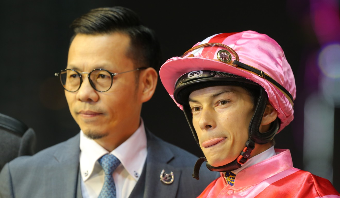 Alexis Badel with trainer Frankie Lor after a win from Simply Brilliant