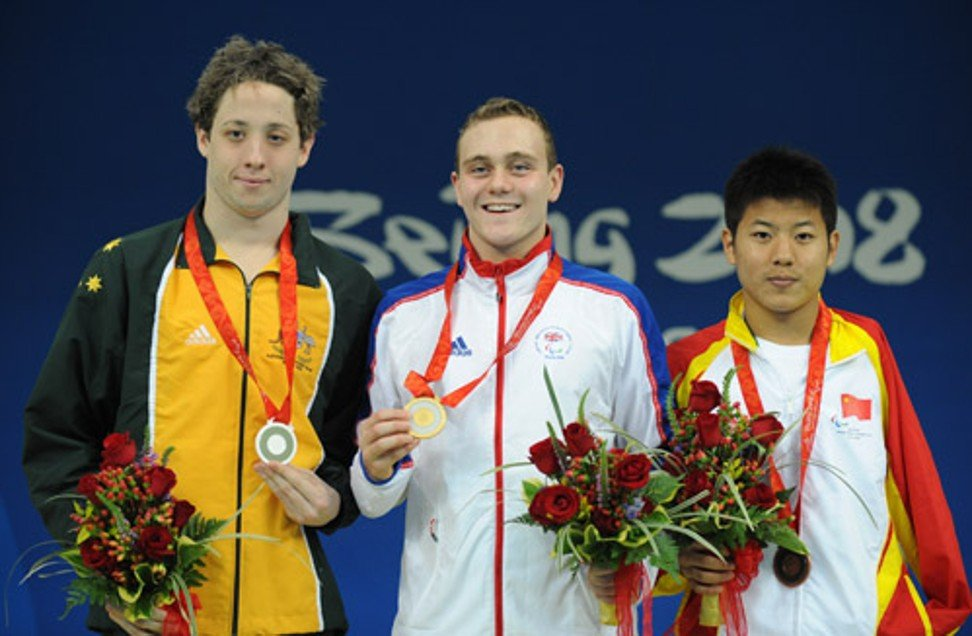 Wang Jiachao wins a bronze medal in the 400m freestyle in Beijing in 2008.