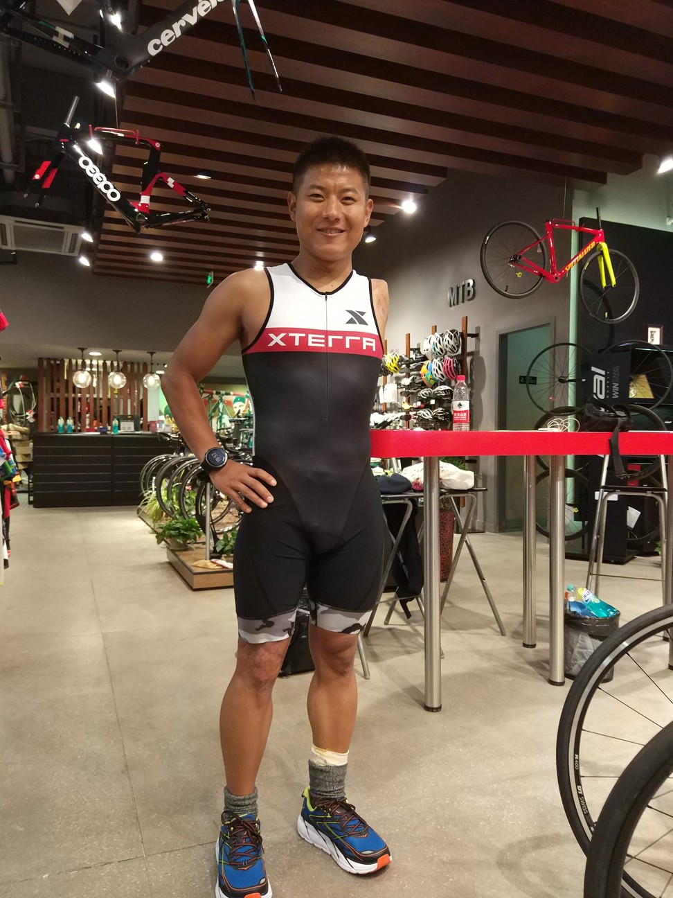 Wang Jiachao in Shanghai in 2017 during preparation for the Maui Hawaii for Xtrerra race.