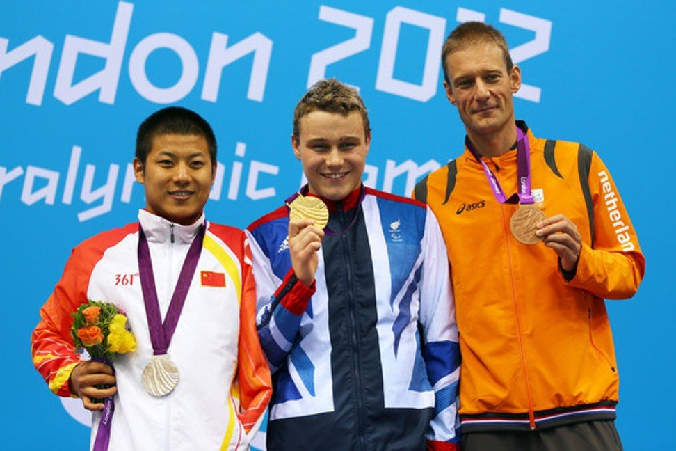 Wang on the podium in London with a silver medal in 200m individual medley.