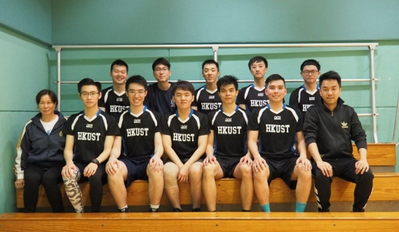Chow Tsz-lok (back row, fourth left), seen here with his university netball team. Photo: Handout