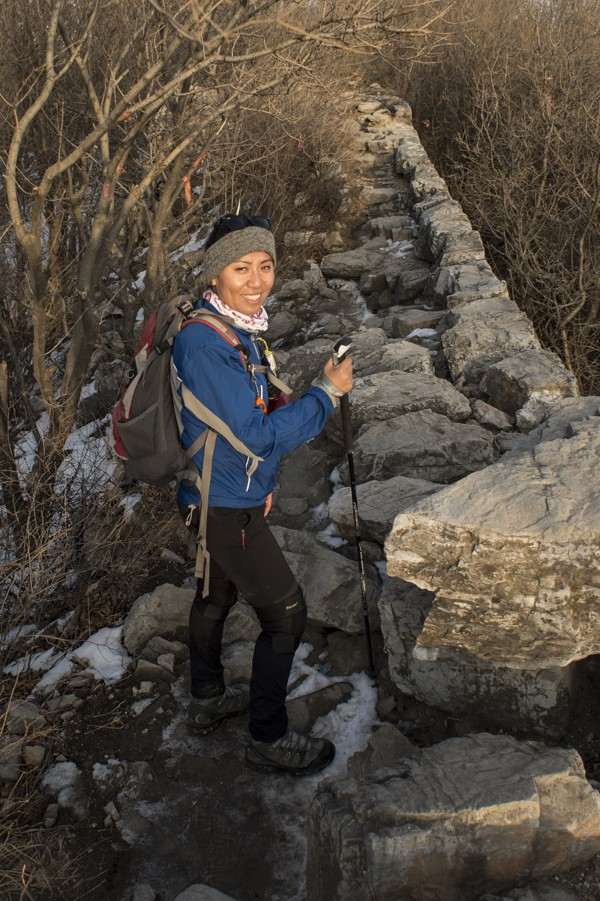 Jun Deng testing during a route planning hike.