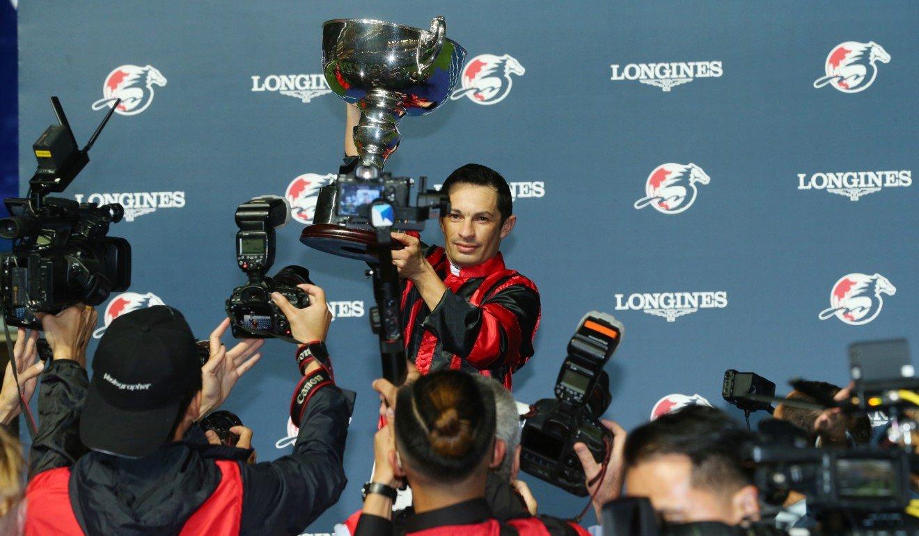 Silvestre de Sousa celebrates after winning the Longines International Jockeys' Championship last year. Photo: Kenneth Chan