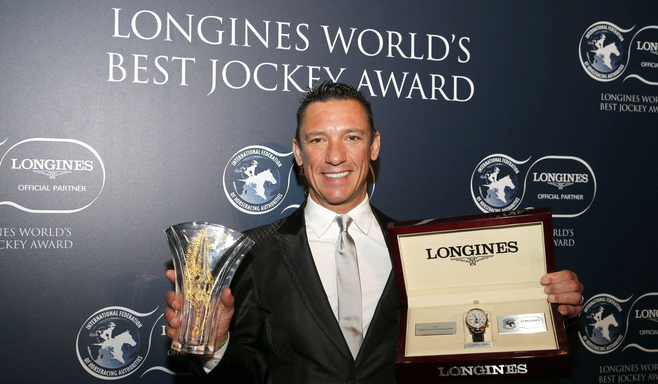 Frankie Dettori collects the 2015 World's Best Jockey Award in Hong Kong.