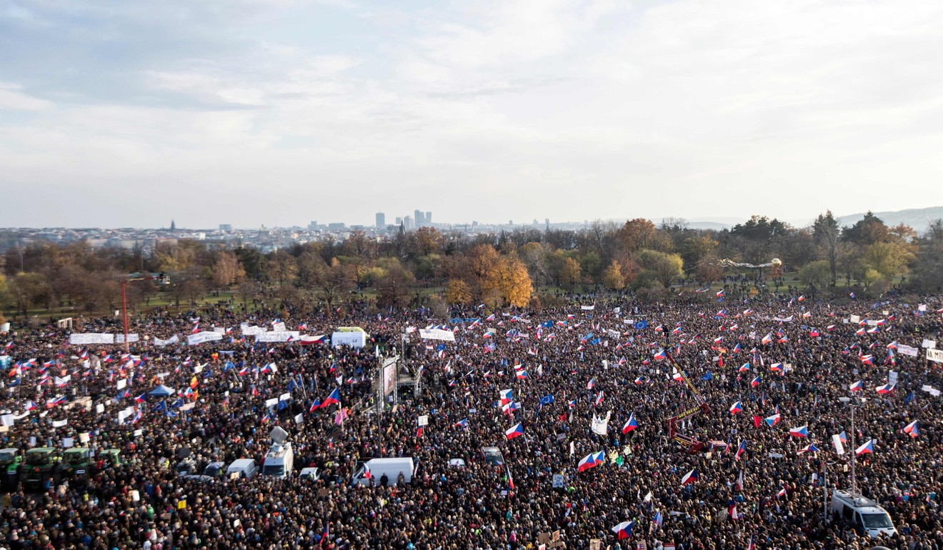 Prague brought to a standstill as huge protest marking Velvet Revolution demands Czech Prime Minister quit