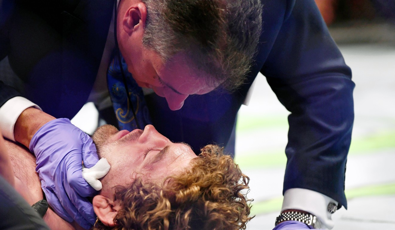Askren is assessed by medical staff after being knocked out with by Jorge Masvidal earlier in the year. Photo: USA Today Sports