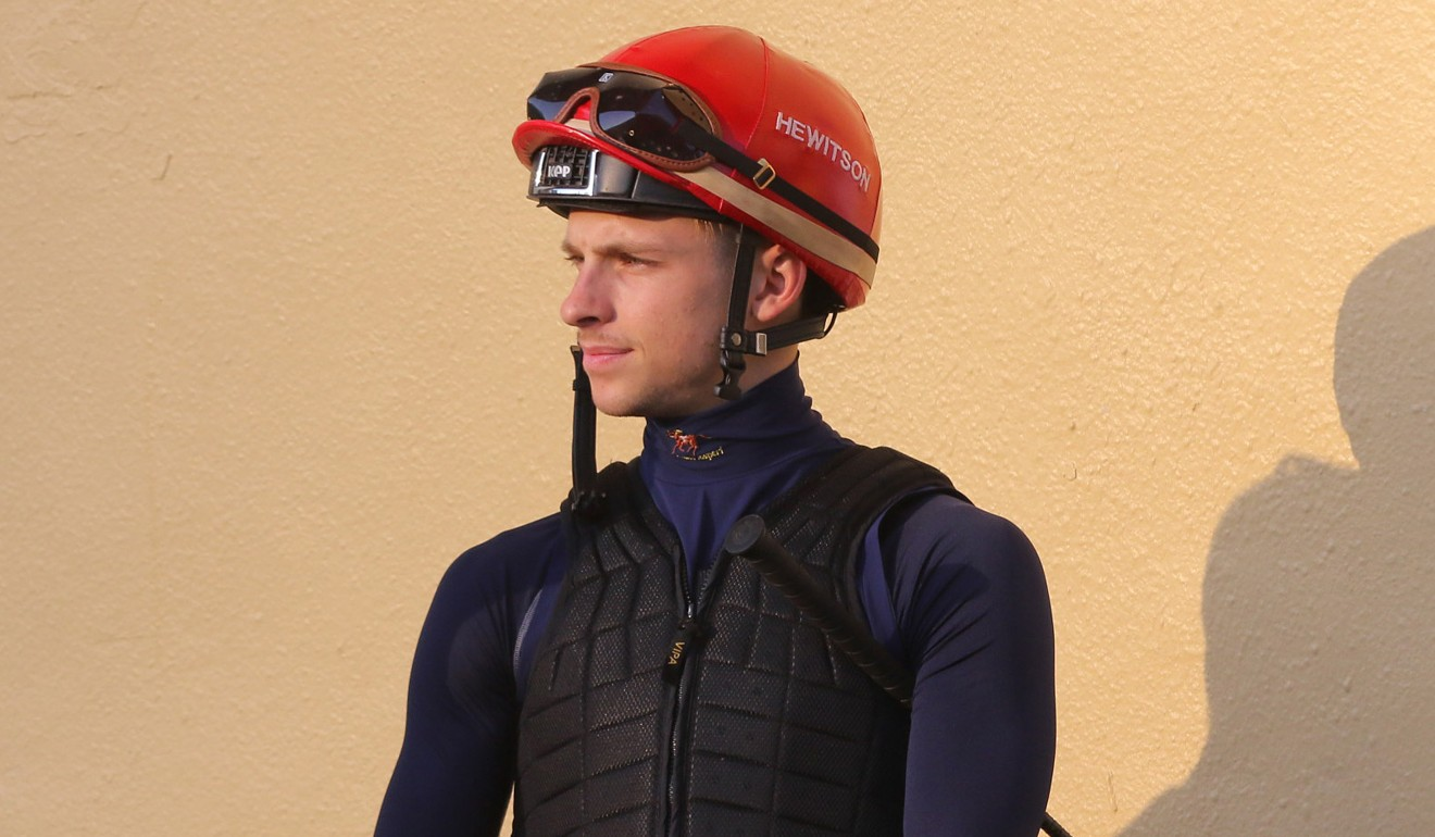 South African jockey Lyle Hewitson at trackwork.