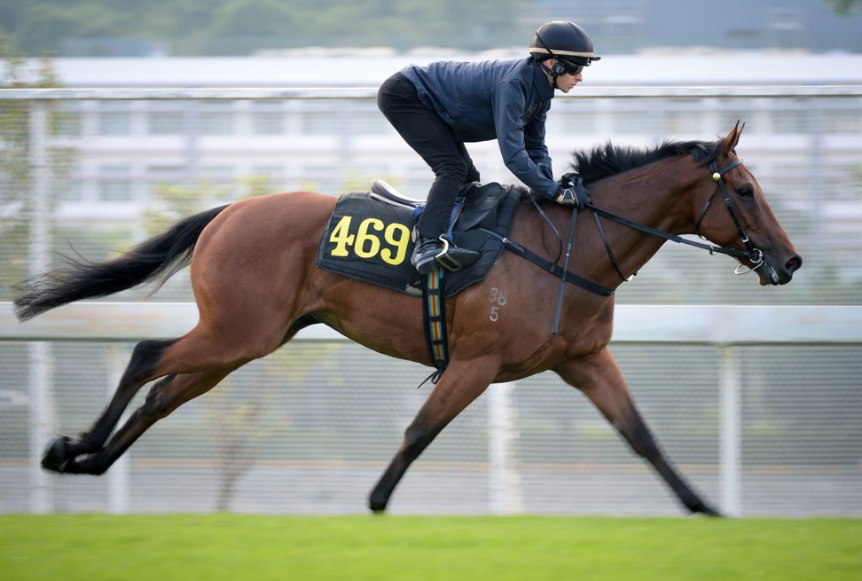 Lyle Hewitson gallops Methane at Sha Tin last week.