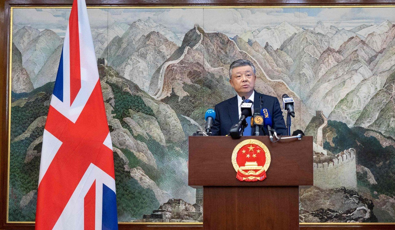 Chinese ambassador to Britain Liu Xiaoming addresses the media at the Chinese embassy in London on Monday. Photo: AFP