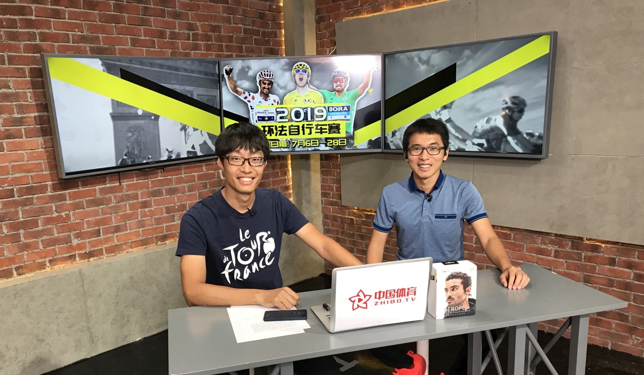 Harry Li and colleague while commentating on the 2019 Tour de France. Photo: China Sports