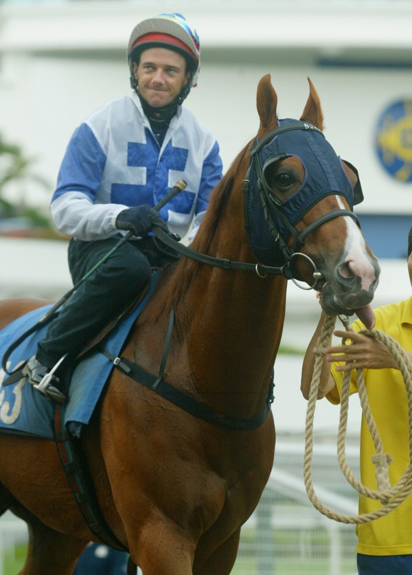 Brett Prebble and Cape Of Good Hope after a barrier trial in 2005.