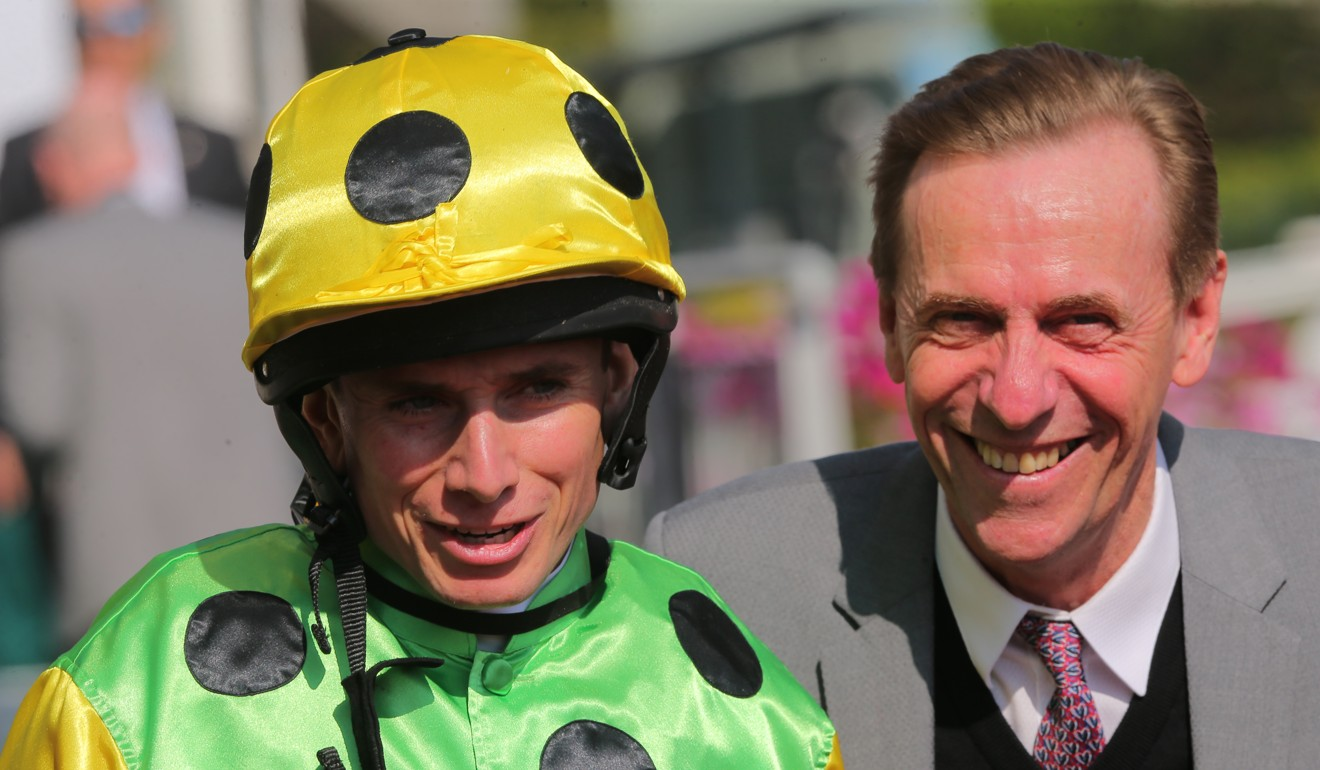 Ryan Moore with trainer John Size.