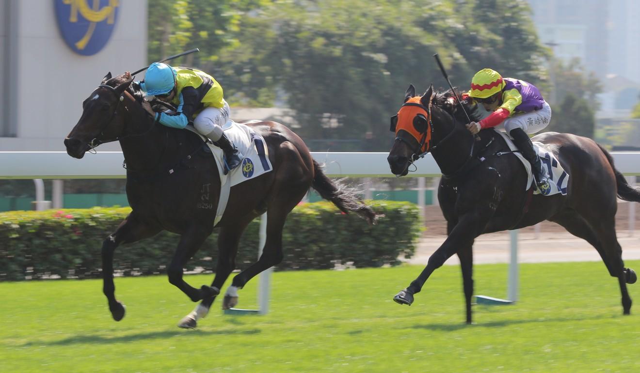Quadruple Double kicks clear at Sha Tin on Sunday.