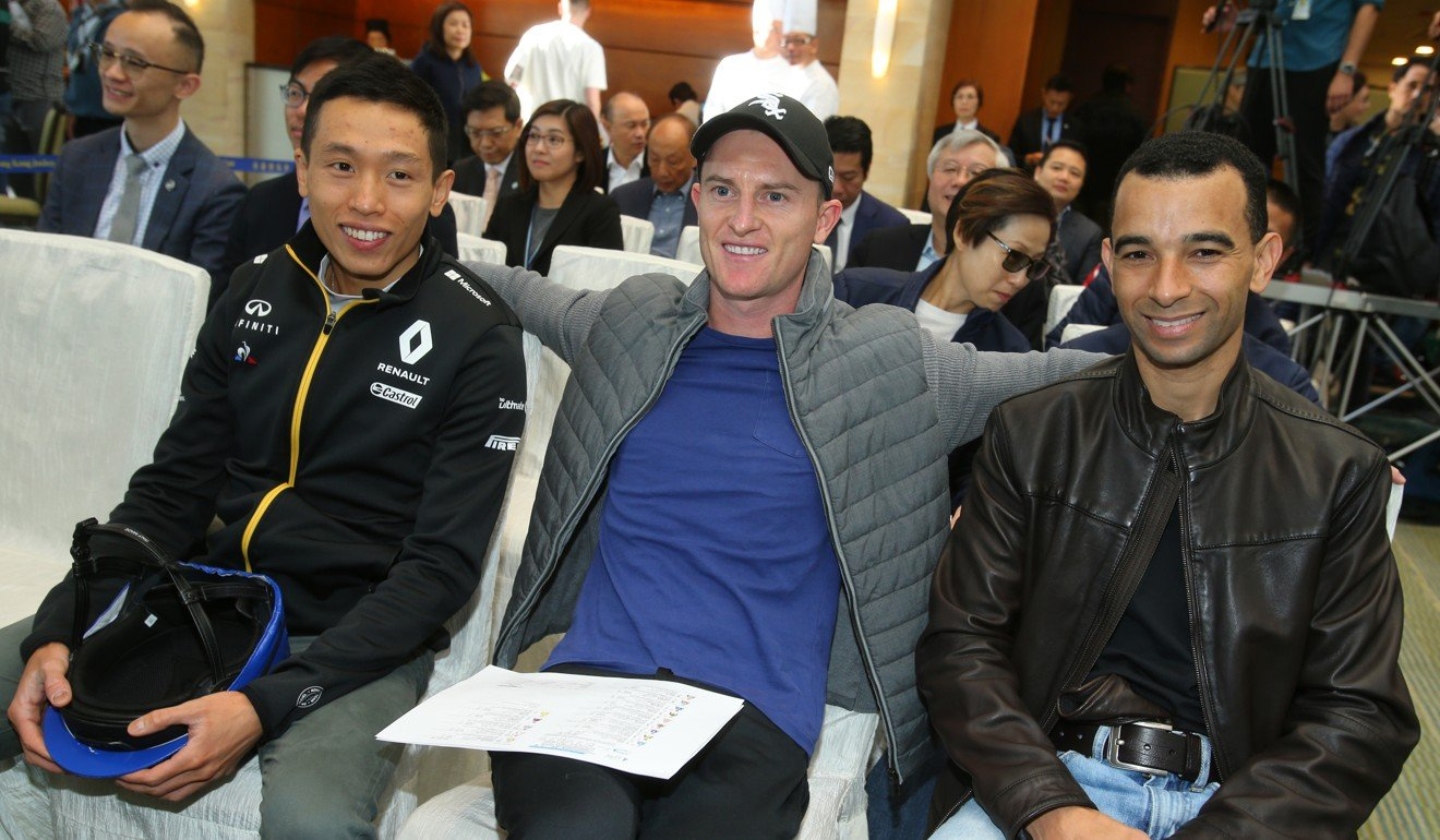 Vincent Ho (left), Zac Purton and Joao Moreira at Monday's IJC draw.
