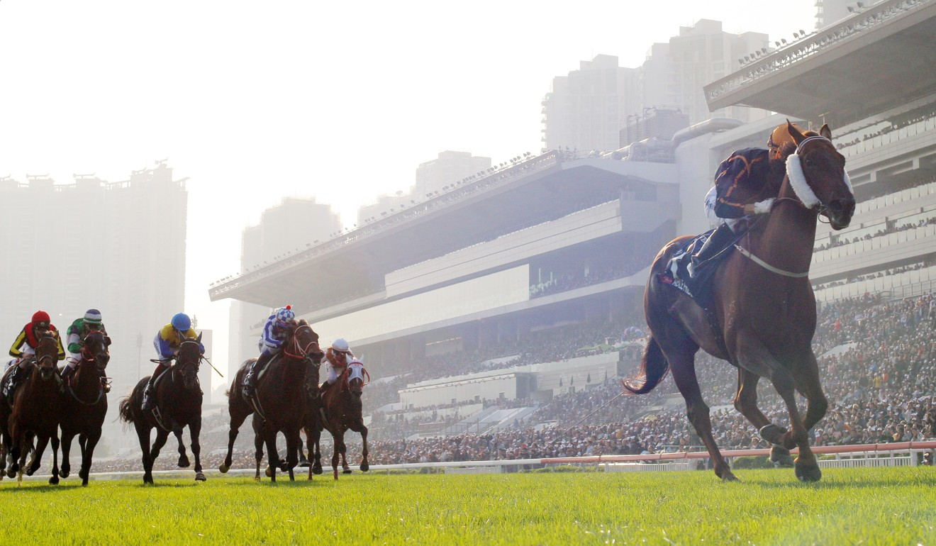 Able Friend pulls away to win the 2014 Hong Kong Mile.