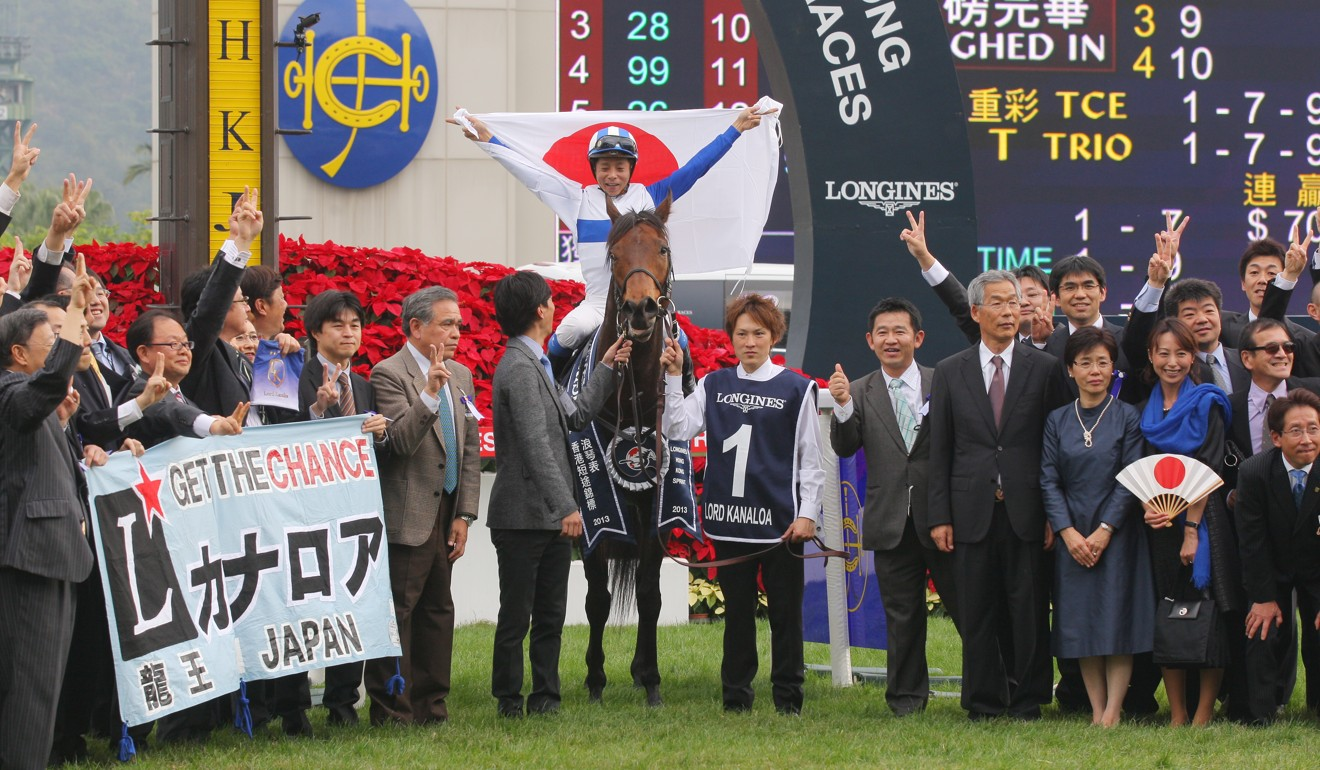 Lord Kanaloa connections celebrate their win in the Hong Kong Sprint.