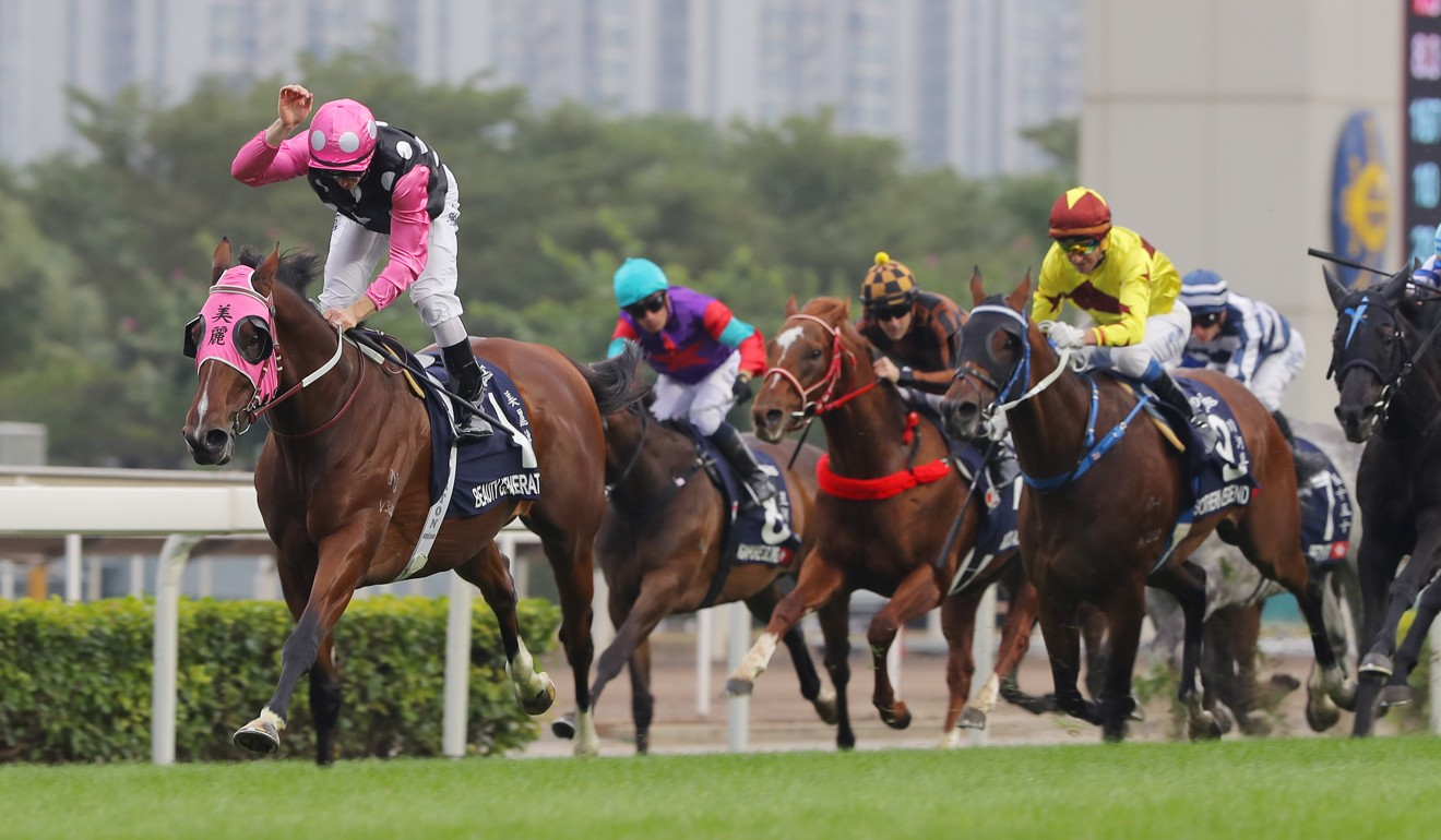 Beauty Generation wins last year's Hong Kong Mile under Zac Purton.