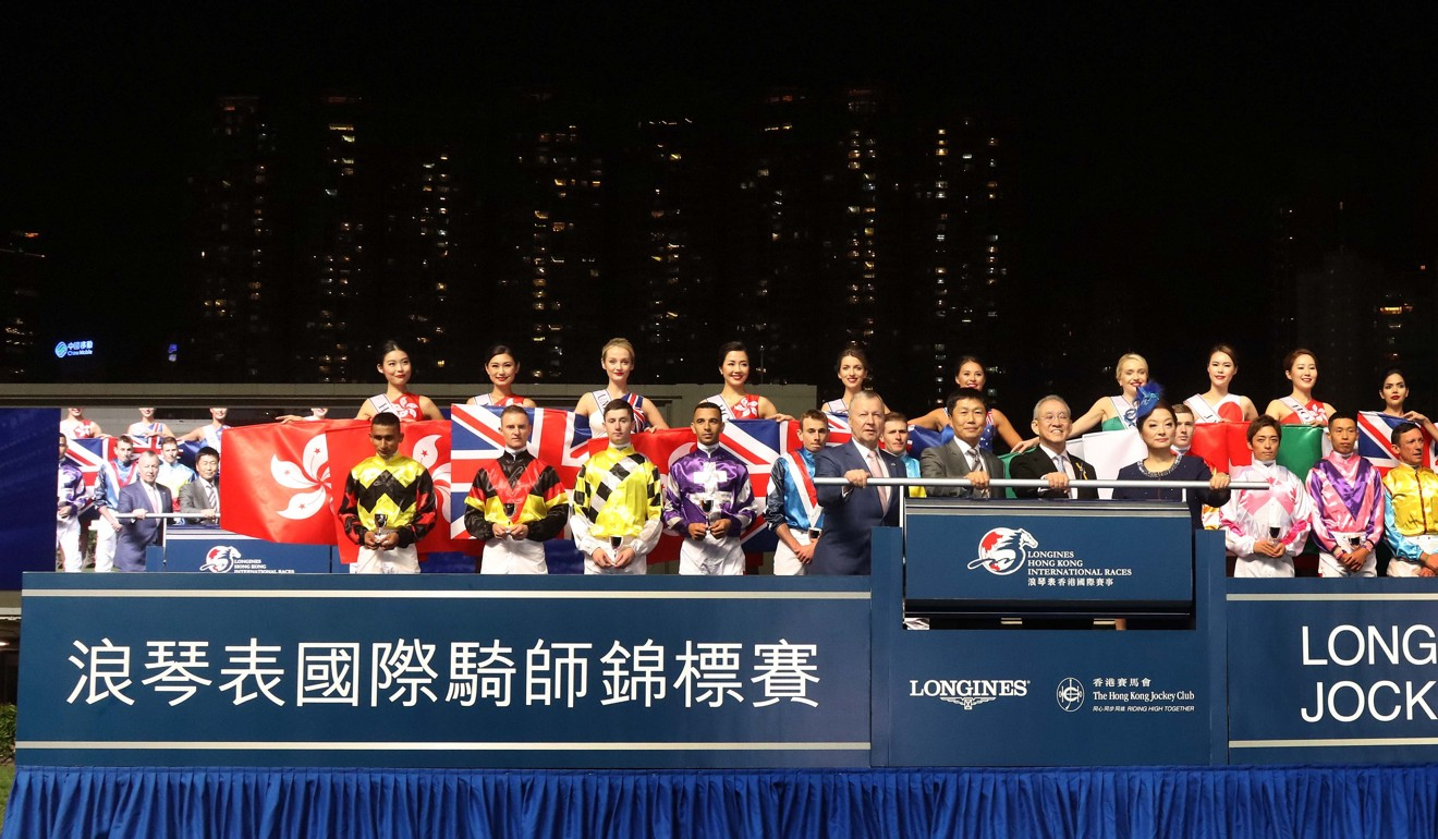 Jockeys prior to the 2019 IJC at Happy Valley with no fireworks. Photo: HKJC