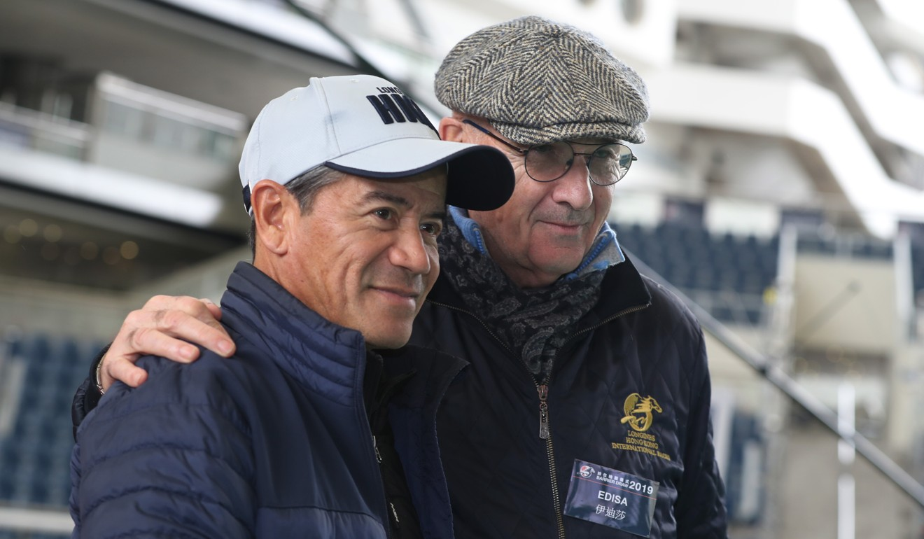 French trainer Alain de Royer-Dupre (right) with Tony Cruz at Thursday's barrier draw.