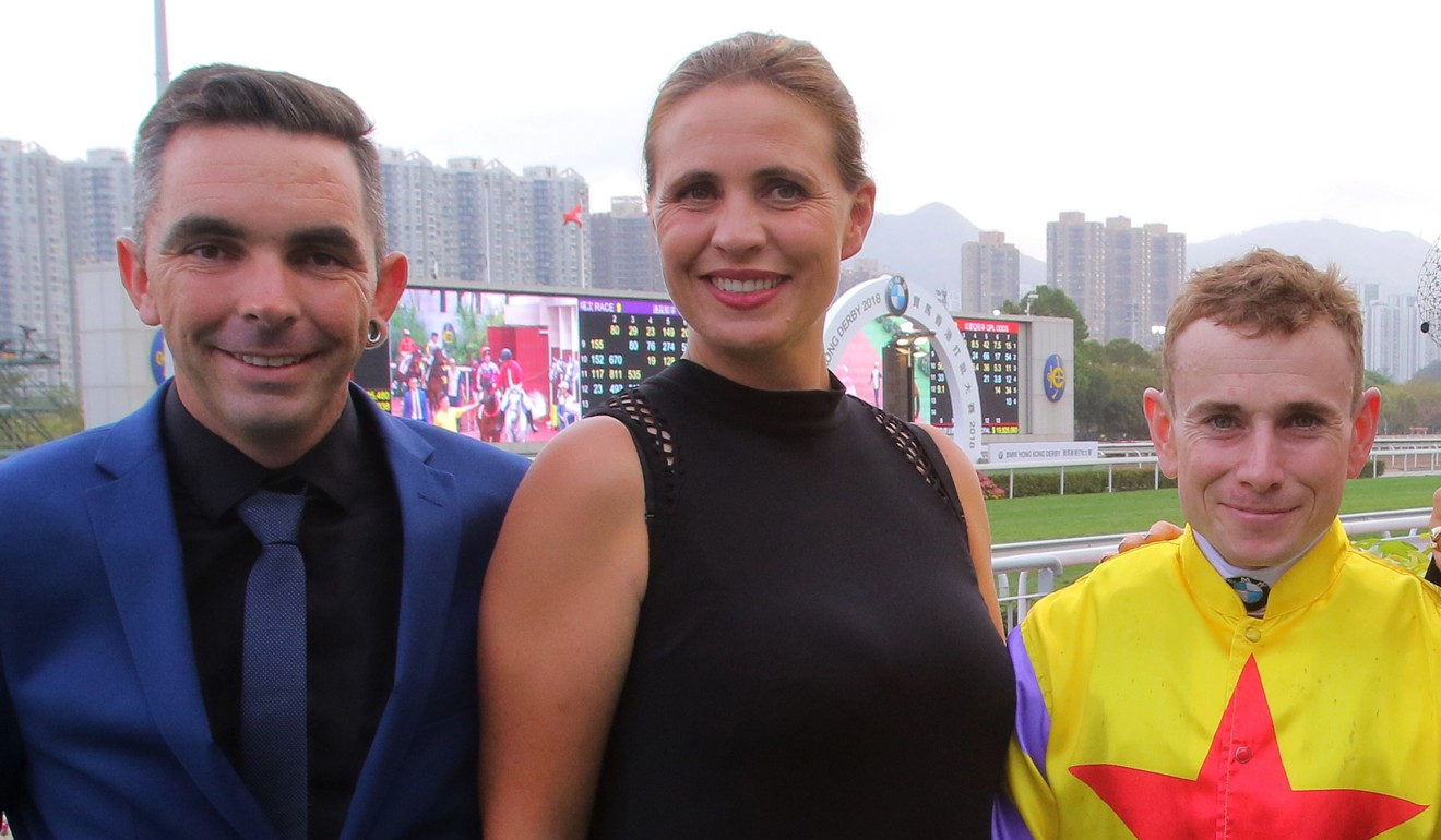 Sam and Libby Bleakley with Ryan Moore after Ping Hai Star's win in the 2018 Hong Kong Derby. Photo: Kenneth Chan