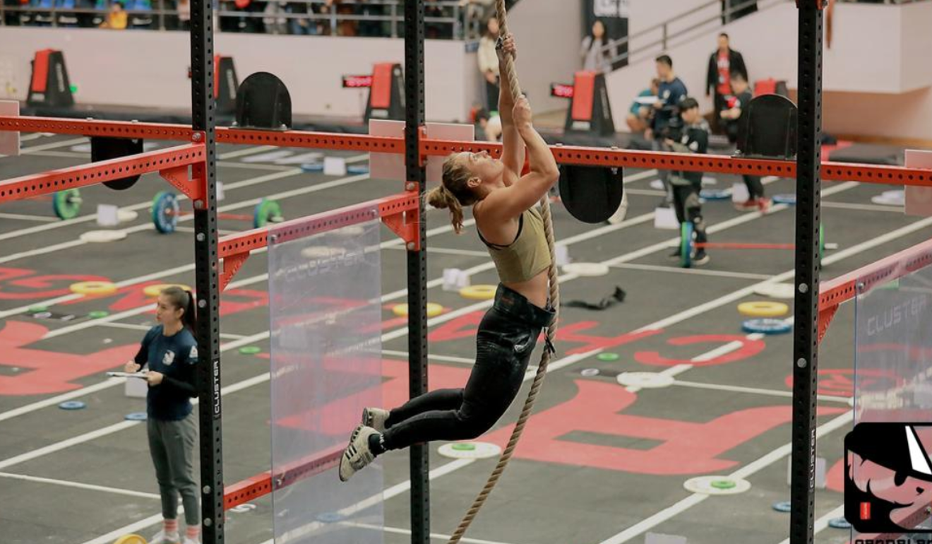 Harriet Roberts on the rope climb at the CrossFit Sanctionals Pandaland event. Photo: Pandaland CrossFit