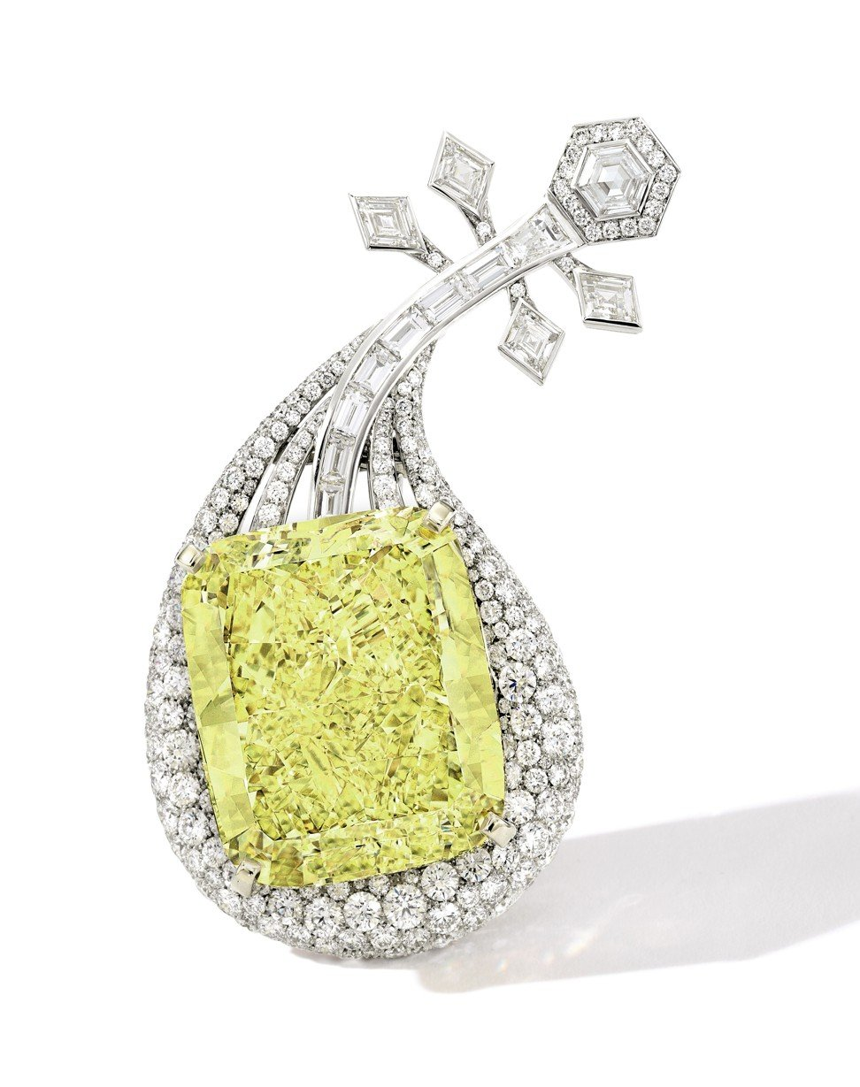 Anna Hu cushion-shaped 100.02ct fancy intense yellow diamond pendant, shaped like a pipa, the Chinese musical instrument