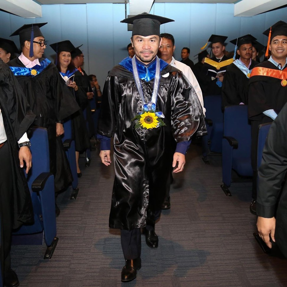 Manny Pacquiao at the graduation ceremony. Photo: Instagram