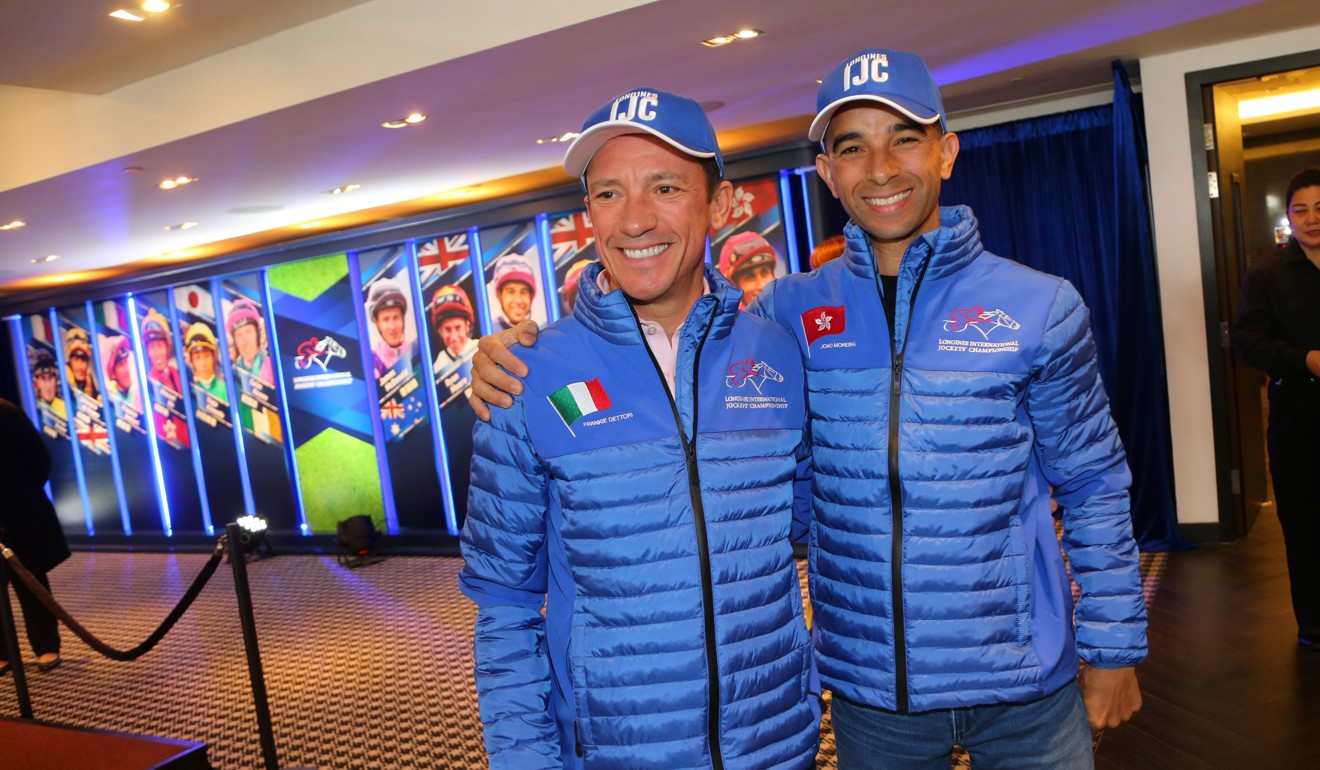Jockeys Frankie Dettori with Joao Moreira ahead of the International Jockeys' Championship last week.