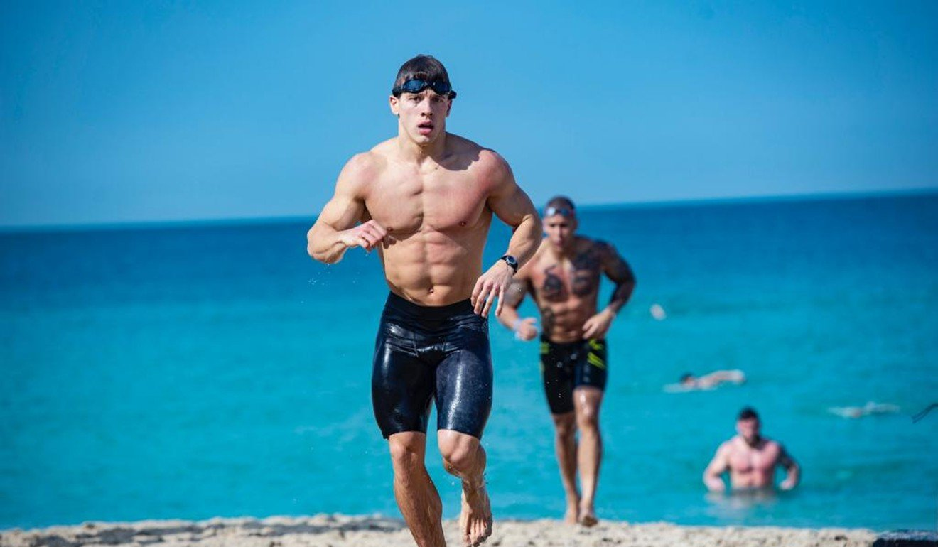 Spencer Panchik coming out of the water in Dubai during the first event. Photo: Dubai CrossFit Championship