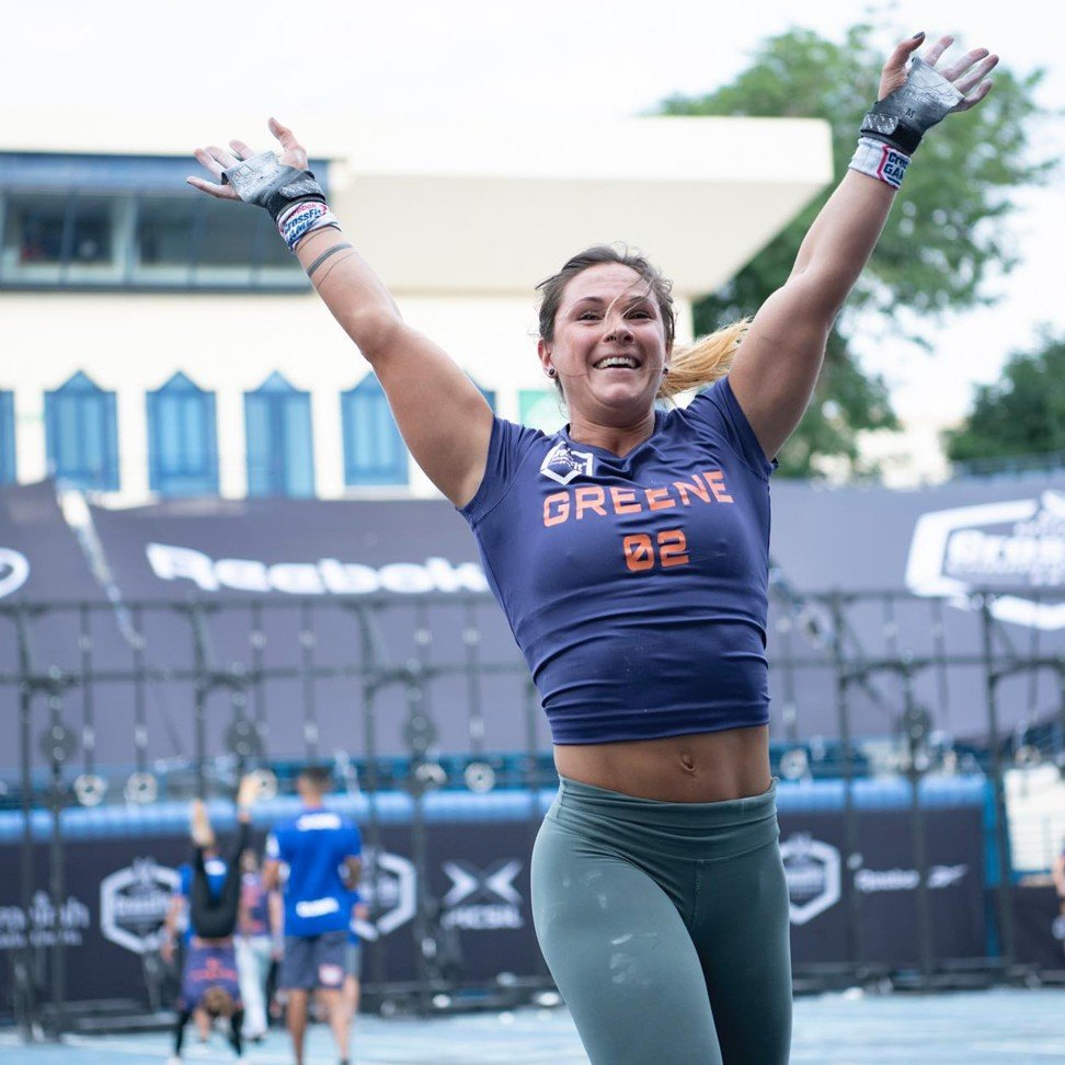 Jamie Greene after winning the first event of day three. Photo: Dubai CrossFit Championship