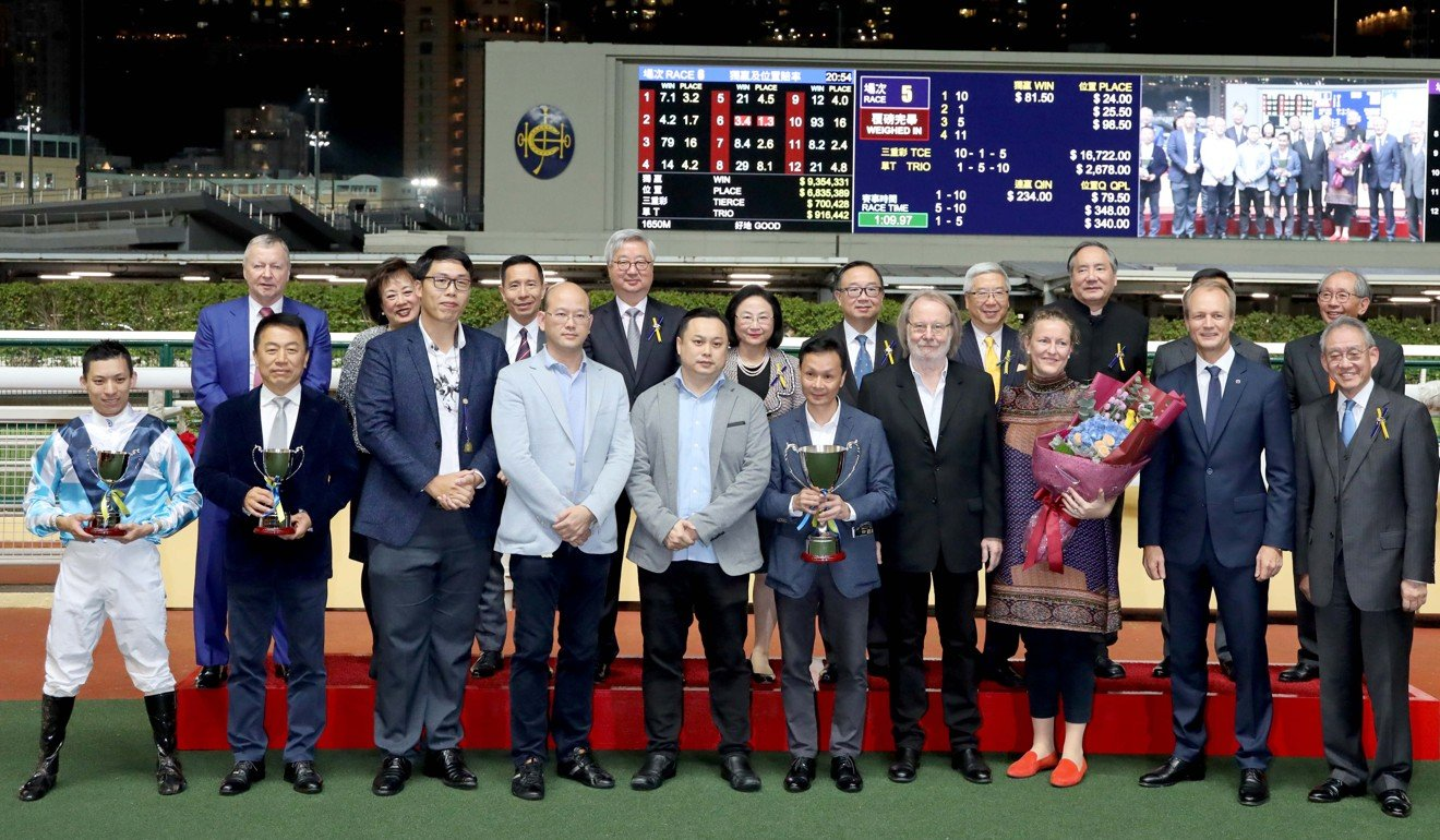 Benny Andersson (fourth from right) celebrates the first Swedish Cup at Happy Valley. Photo: HKJC