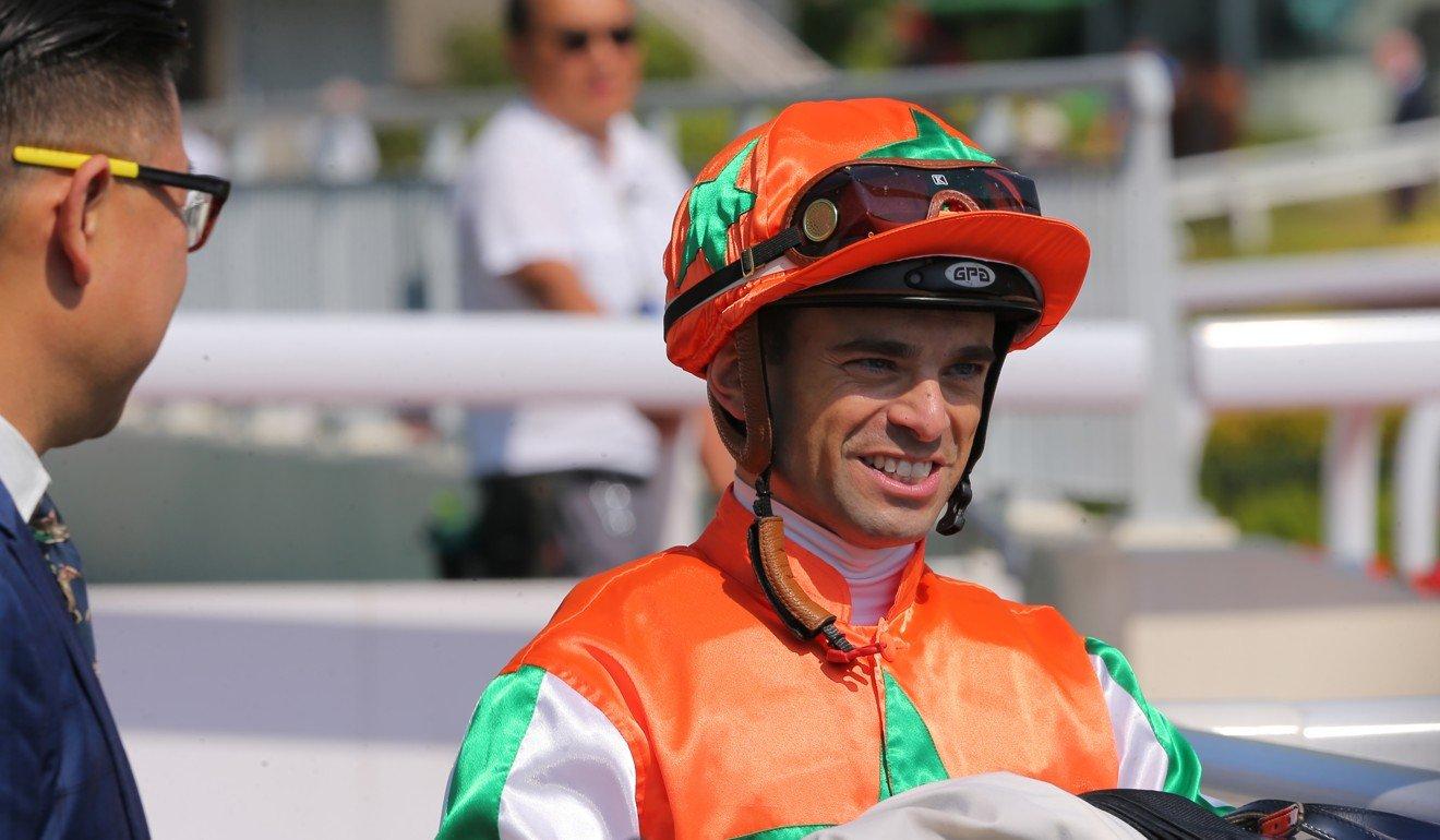 Umberto Rispoli after riding a winner at Sha Tin this season.